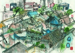 Yangso ink color painting 陽朔水墨